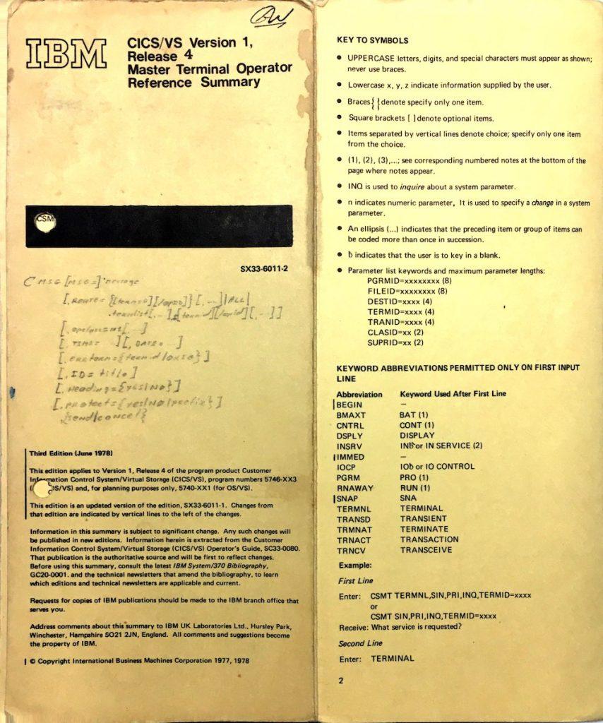 CICS Master Terminal Operator Reference Summary – Geronimo/370
